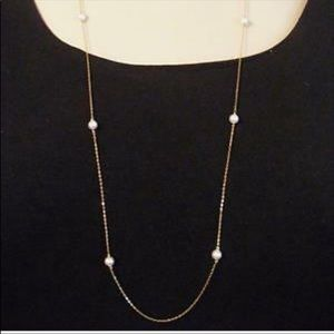 Nadri Long Faux Pearl Silver Station Necklace